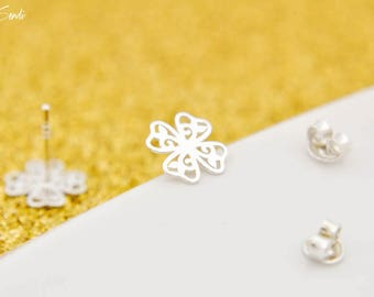 Sterling Silver Clover openwork earrings, silver Clover, Clover pendant, earrings Clover, little Clover, small silver, daily, sweet little