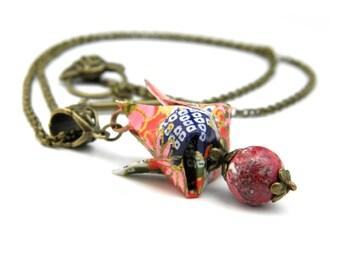 Origami necklace Tulipe