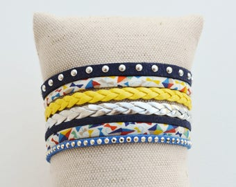 Liberty Cuff Bracelet Navy Blue, yellow and silver