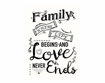 Family Where life begins and Love never ends Personalised  gift Print