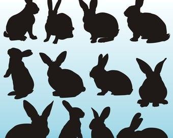 Rabbits Silhouettes Clipart, Bunny Silhouettes Clipart, Rabbits Clipart, Animals Silhouettes, Rabbits SVG Files, Digital Rabbits, Printable