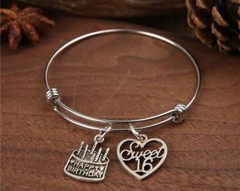 Birthday Cake Bracelet, Happy Birthday Bangel, Birthday gifts, brithday Bracelet, personalized bracelet, Birthstones Bangle, initial bangle