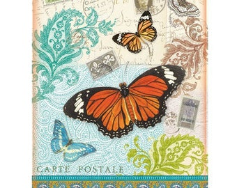 A4 21 x 29 cm decoupage rice paper card postcard Butterfly