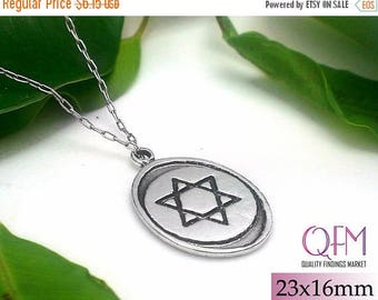ON SALE 1 pc Magen David - Star of David - Jewish Star - Pendant Oval 23x16mm Sterling Silver 925 Antique Silver Finish