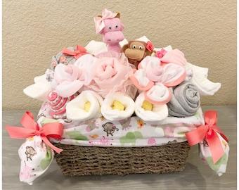 Baby Girl Gift Basket - Giraffe and Monkey Jungle Baby Shower Basket/Co-Worker/Corporate  Baby Gift
