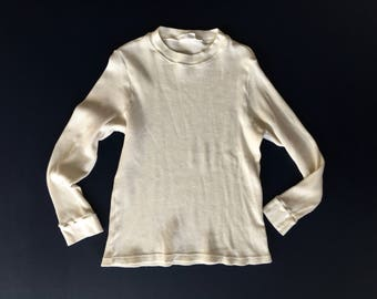 Vintage Cotton White Long Sleeve Tee | Made in USA White Scoop Neck Layer | Thermal White