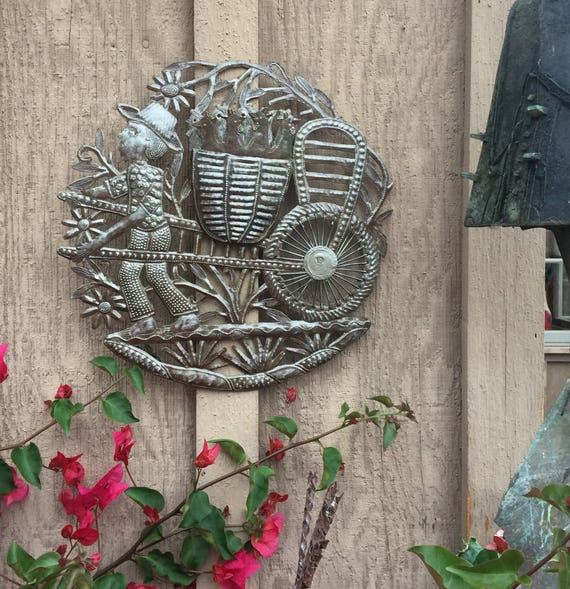 "Spring Garden Farmer Handmade in Haiti, Recycled Metal Wall Art 13"" X 13.5"""
