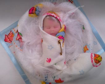 """Polymer Clay Babies """"Bundle Baby"""" BABY BOY SIZE 2.5"""" Gift, Collectible, Keepsake, Memorial, Baby Shower, Cake Topper, Photo Prop, Doll House"""