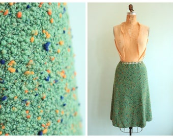 Vintage 1930's Green Speckled Bouclé Skirt | Size Medium