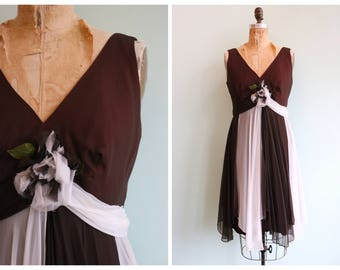 Vintage 1960's Brown and White Chiffon Party Dress | Size Medium