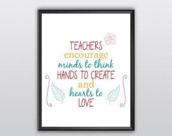 75% off Teacher Appreciation Gift Teacher Quote Teacher Printable The Influence Of Teacher Printable Classroom Inspirational Quote (T101)