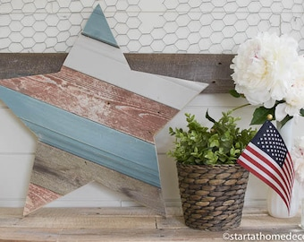 Red White and Gray Reclaimed Wood Star