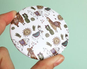 Llama pocket mirror - cute makeup mirror - mirror - gift for her