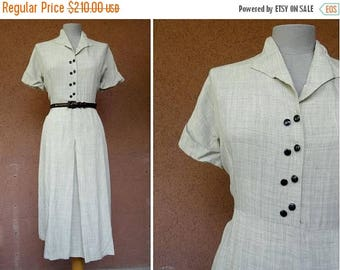 Summer Sale 1930's Grey Rayon Day Dress - 30's Grey Short sleeves Dress - Size M/L