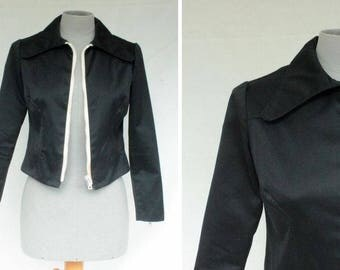 1970's  Black Jacket with Chunky Zip - Zipped Sleeves Jacket - Size Xs