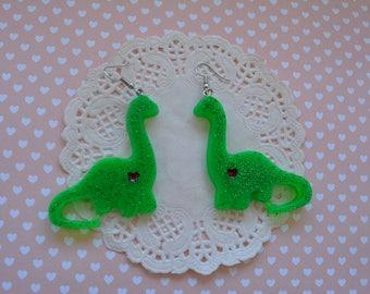 Dinosaurs dinosaur green cute kawaii earrings