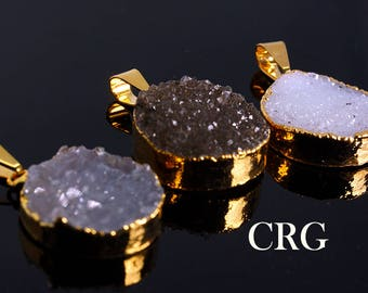 Gold Plated Uruguayan Crystal Druzy Round Pendant (DR55CN)