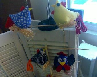 Sewn Chicken for Home Decor, Mobile