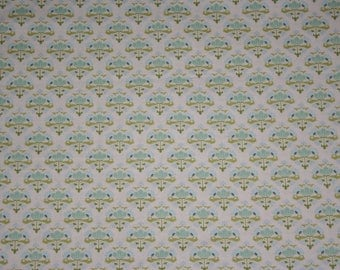 Tilda fabric, teal and green. Tilda cotton fabric. Sold by the metre.