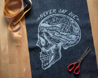 skull patch, Back patch, jeans patch, fabric sew on patch, goonies patch, skull punk patch, screenprint patch, tattoo patch, never say die