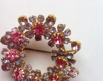 Vintage  Floral Wreath  Brooch / Openwork  Multocolor Crystal Brooch
