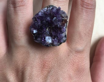 Sterling Silver, Raw Amethyst Ring. Size 7