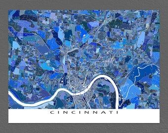 Cincinnati Map, City Map Poster, Cincinnati Ohio, Map Art