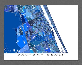 Daytona Beach Map Print, Daytona Beach Florida, City Art Maps