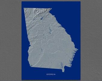 Georgia Map, Georgia Wall Art, GA State Art Print, Landscape, Navy Blue