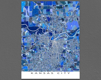 Kansas City Map Print, Kansas City Art, Kansas City KS, MO