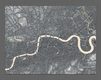 London Map Print, Black and White Art, Vintage Inspired, England, UK