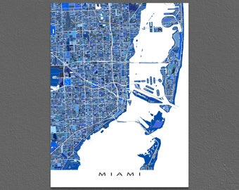 Miami Print, Miami Map Art, City Street Map, Miami Florida