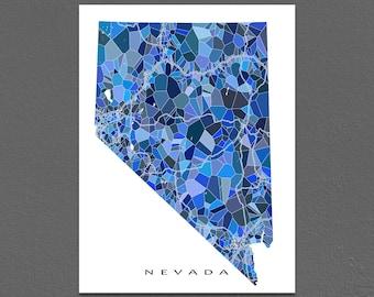 Nevada Map Print, Nevada State Art, NV Wall Artwork