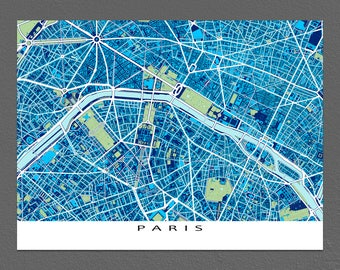 Paris Art Print, Paris Map, City Map of Paris France, Blueprint