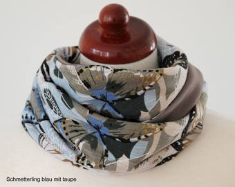 Tube scarf loop scarf Butterfly Blue grey beige jersey cowl Infinity scarf