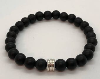Matte Black Bracelet with Three Silver Spacers