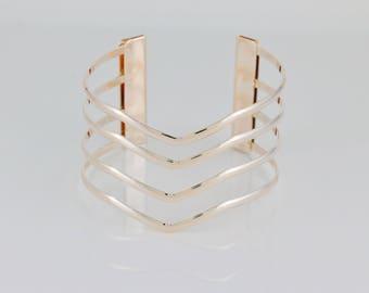 Rose Gold metal cuff bangle bracelet cut out 4-line v-pattern wonder woman cuffs