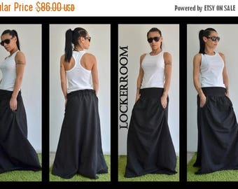 ON SALE Black Spring skirt/Long Elastic skirt/Ladies Cotton Skirt / Woman Long Skirt / Black long skirt / Long skirt maxi