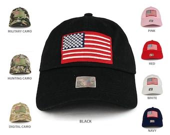 Big US Flag Embroidered Unstructured Low Profile Adjustable Baseball Cap (ACE-BM691)