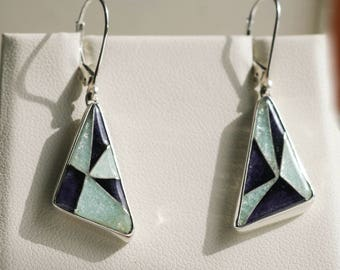 Crystal & purple drop earrings