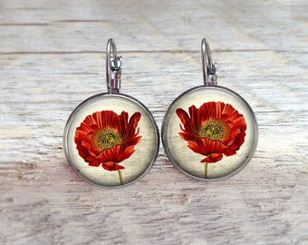 Earrings size sleepers with poppies theme