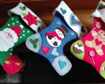Personalised Handmade Christmas felt stocking with Santa, Frosty or Christmas tree
