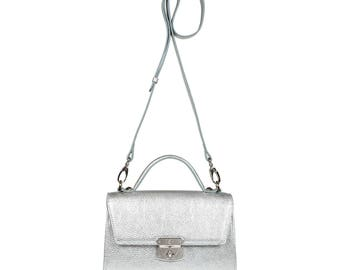 Leather Cross body Bag, Silver Leather Shoulder Bag, Women's Leather Crossbody Bag, Leather bag KF-1160