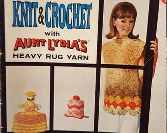 Knit & Crochet with Aunt Lydia's Heavy Rug Yarn | Star Book No. 191 15 Patterns