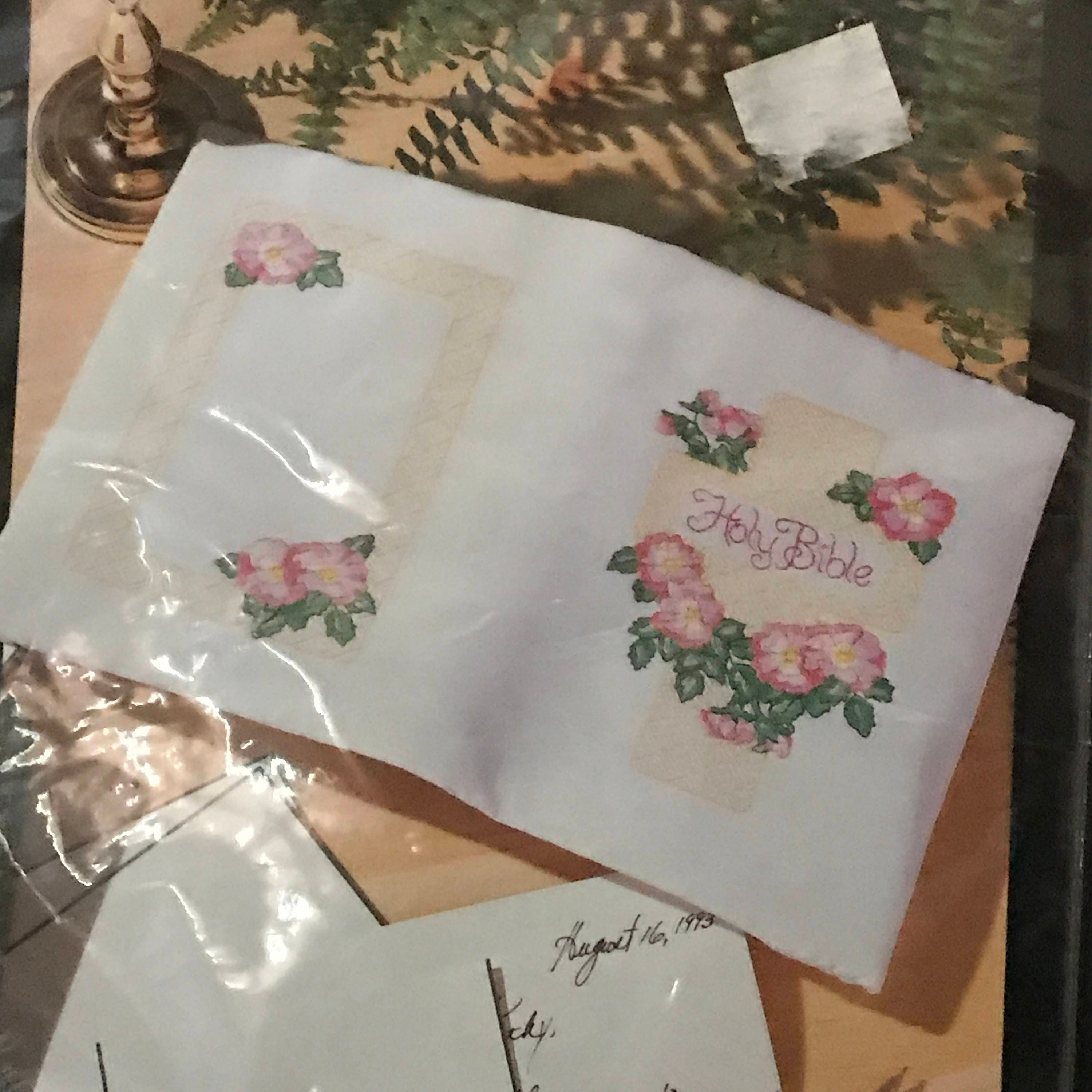 Embroidered Book Cover Diy : Bucilla wild roses bible cover embroidery kit cross