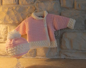 Victorian asymetrical style baby girl sweater and hat set