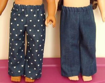 "18"" Doll Jeans, 2 Pair, Hearts & Too Cute"