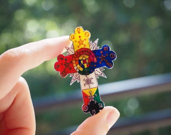 Cute human heart brooch or pendant rosy cross fashion occult brooch or pendant aloadofball Images