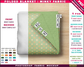 Blanket on Wood Table | Photoshop Fabric Mockup Top View | Folded Backside Minky Dimple Dot | Blanket Tags | Smart Object Custom colors
