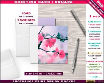 Greeting Card 5x5 | Photoshop Desktop Print Mockup | Square Card, 2 Envelopes & 2 Pens on Wood Table | Smart object Custom colors